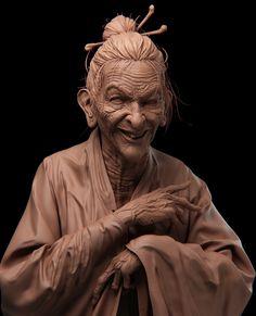 old woman, YUE ZHOU on ArtStation at https://www.artstation.com/artwork/DNkze