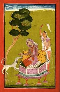 Sanveri, daughter-in-law of Sri Raga.  Opaque watercolor heightened with gold on paper. Circa 1700-1720 India, Bilaspur