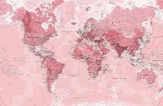 Pink World Map Wall Mural, custom made to suit your wall size by the UK's for wall murals. Custom design service and express delivery available. design klassisch Pink World Map Wallpaper Mural Wallpaper Notebook, Office Wallpaper, World Map Wallpaper, Mac Wallpaper, Aesthetic Desktop Wallpaper, Macbook Wallpaper, Computer Wallpaper, Wallpaper Backgrounds, Pink Wallpaper For Laptop