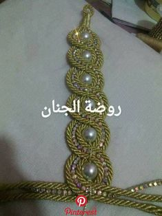 Nice idea for a belt تفصيل Medieval Embroidery, Gold Embroidery, Embroidery Designs, Beaded Jewelry, Handmade Jewelry, Wedding Sash Belt, Braided Necklace, Techniques Couture, Bridal Blouse Designs