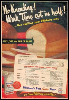 1945 No Knead Special Bread Recipe by Pillsbury & McCallum Vintage Recipe Divas Adaption Recipe - Bread Recipes Retro Recipes, Old Recipes, Vintage Recipes, Cookbook Recipes, Cooking Recipes, Homemade Cookbook, Cookbook Ideas, Kraft Recipes, Family Recipes