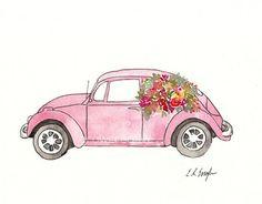 Pink Volkswagen Beetle Original Watercolor and by GrowCreativeShop