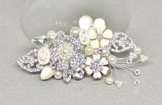 Bridal Hair Accessory Floral Fantasy Bridal Comb by BrassBoheme
