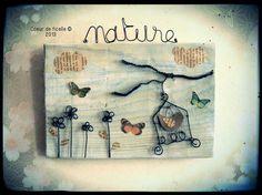 """Tableau en bois et fil de fer """"la nature"""" n°2"""