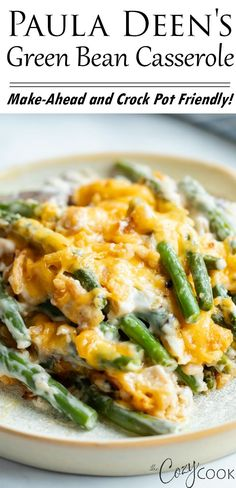 This homemade Green Bean Casserole recipe from Paula Deen is an easy make-ahead side dish idea for holidays and family dinners. It's full of simple ingredients and is all topped with warm, melted cheese. #greenbeancasserole #pauladeen #makeahead #sidedish #thanksgiving #christmas #greenbeancasserolerecipe