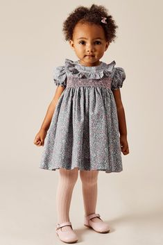 Pepa & Co. Classic Handsmocked dress floral print Blue and Pink. Little Girl Outfits, Kids Outfits Girls, Cute Outfits For Kids, Toddler Girl Style, Toddler Girl Dresses, Toddler Outfits, Baby Girl Fashion, Toddler Fashion, Kids Fashion