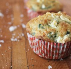 Spinach & Feta Muffin (will add kalamata olives); also planning on salmon and goat cheese muffins. New Year's Menu.