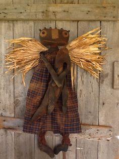 Primitive Folk Art Americana Black Doll fall autumn angel with crow grubby #BlackFolkArt