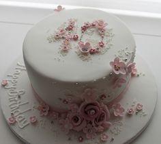 40 floral birthday cake by Jill The Cakemaker, via Flickr