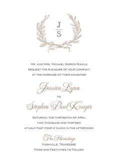 laurel wreath wedding invitation