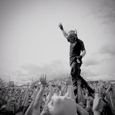 """#mushroomhead taking it to the crowd today. #mayhemfest #rockstarmayhem #walkingonfans"""