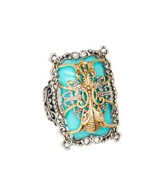 Look what I found on #zulily! White Gold & Turquoise Antique-Statement Ring #zulilyfinds