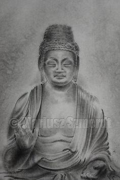 Original japanese sumi-e handmade art BUDDHA buddhism portrait SCULPTURE ink PAINTING artist Mariusz Szmerdt watercolor black white grey