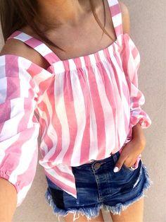 #spring #outfits Striped Cold Shoulder Blouse & Denim Short