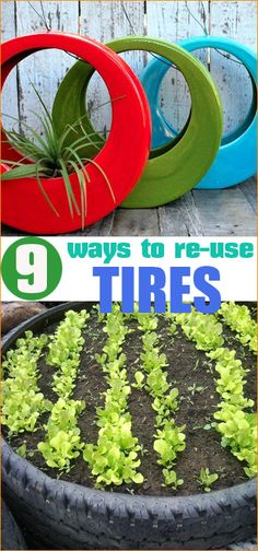 9 Ways to Reuse Tires. Clever uses for old tires. Gardening on a dime. Flower pots and arrangements potted in tires.