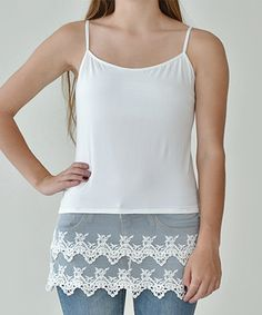 White Lace-Trim Cami Shirt Extender
