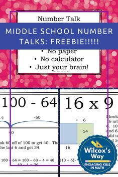 Number talks are a great way to boost students number sense and student engagement. This resource gives you what you nee Student Numbers, Math Numbers, Education Middle School, Math Education, Line Math, Number Talks, Math Talk, 7th Grade Math, Secondary Math