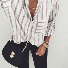 striped button down, black skinny jeans, black saddle bag, and gold accessories. cute and casual outfit. Supernatural Style