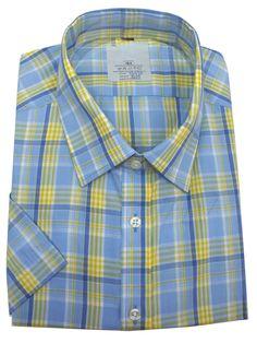 Classic Men's Blue Cotton Blend Check Short Sleeve Dress Shirt  #onlinestore #fashion #fashionstyle #shopping #instagram #kidsclothes #Oasislync #fashionista #instalikes #canada