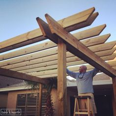 DIY Wood Pergola Hometalk so blessed to have a handyman husband who not only can do pretty much anything but his specialty is wood & building awesome stuff ! Building A Pergola, Wood Pergola, Pergola Canopy, Deck With Pergola, Outdoor Pergola, Backyard Pergola, Pergola Shade, Backyard Landscaping, Cheap Pergola