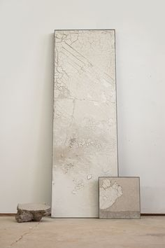 """Margaret Boozer:Frozen, with Peninsula and Found Clay, 2014 raw clays, sand, steel 72"""" 32"""" x 8"""""""