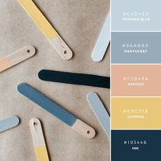 Build Your Brand: 20 Unique and Memorable Color Palettes to Inspire You – Design School Branding design, branding yourself. Board with color palette Peach Color Palettes, Color Schemes Colour Palettes, Colour Pallette, Color Combos, Blue Palette, Nantucket, Wedding Color Pallet, Blue Color Pallet, Stoff Design