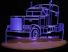 "2000 Peterbilt Semi Truck Acrylic Lighted Edge Lit LED Sign / Light Up Plaque 13"" Desk Model"