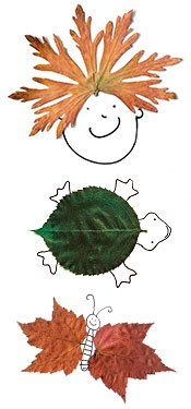 September Fun Fall Crafts - Art with leaves! Press the leaves until they are flat and dry, then make beautiful creatures - just add pen!
