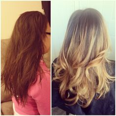 Before  after. Lightened her base color to a medium ashy brown ombre'd beige blonde ends. Haircut  quick style.