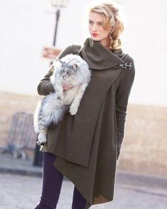 Asymmetrical Boiled Wool Coat - Petite