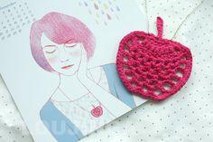 crochet apple necklace