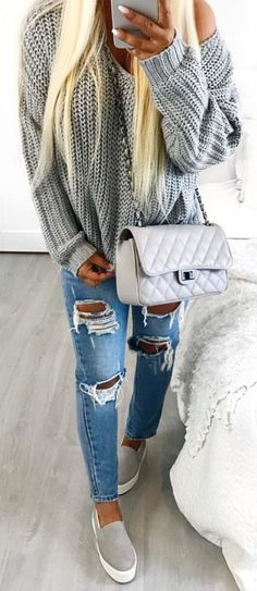 #winter #outfits blue distressed jeans and gray knitted long-sleeved shirt. Pic by @isabellefribeerg.