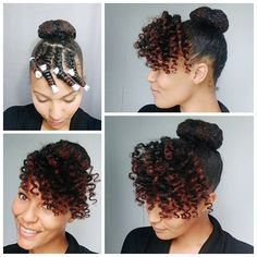 A quick how-to for yesterday's style. I did this style on old hair that was previously in twists. I sectioned off a portion in the front for the bang area and put the back of my hair in a simple bun. For the front section I didn't add any product I just spritzed my hair with water and then flat twisted the hair leaving about an inch or two loose at the end of the twist. I added a perm rod on the end and left the twists and rods in overnight. The next morning I unraveled and fluffed…