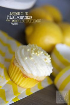 Lemon Curd Filled Cupcakes with Lemon Buttercream Frosting | Tried and Tasty