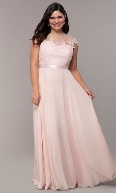 ecf463102ca V-Neck Embroidered-Bodice Long Plus-Size Prom Dress in 2019
