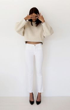 Pure and Simple #Fashiolista #Inspiration white jeans always do!
