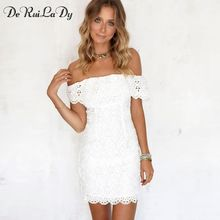 DeRuiLaDy Sexy Women Mini Dress Off Shoulder Sexy Lace Embroidery Bodycon  Dresses Summer Beach Party White Casual Dress vestido //FREE Shipping Worldwide //