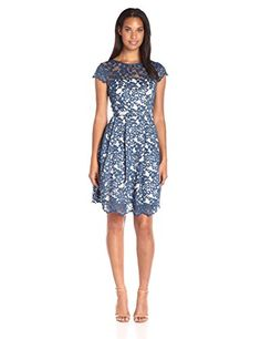 Eliza J Womens Cap Sleeve Lace Dress Navy 8 ** You can find out more details at the link of the image.(This is an Amazon affiliate link)