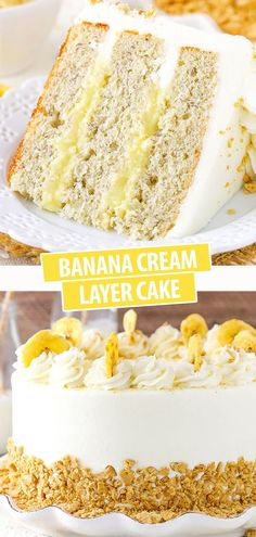 This Banana Cream Layer Cake is moist, delicious and filled with homemade pastry cream. The flavors and textures are just perfect together. It's one of the best banana cakes I've ever made!