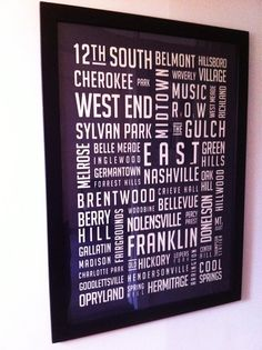 WANT: Oversized Nashville Neighborhoods Destination by hannahschmitt, $90.00