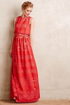 Coral Garden Maxi Dress #anthropologie