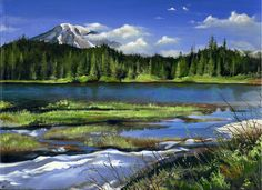 """Spring arrives"" 9"" X 12"" Acrylic on canvas  Reflection lake, Mt Rainier National park. Washington  For Sale: $150.00"