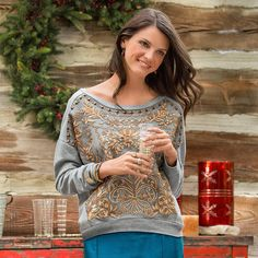 """TIME TO SHINE SWEATSHIRT--A constellation of metallic, floral embroidery and rustic, brass studs adds a lyrical touch to our comfortable, French terry sweatshirt. Hi-lo hem. Cotton. Hand wash. Imported. Exclusive. Sizes XS (2), S (4 to 6), M (8 to 10), L (12 to 14), XL (16). Front approx. 22-1/2""""L; back approx. 25""""L."""