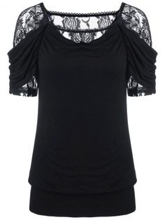GET $50 NOW | Join RoseGal: Get YOUR $50 NOW!http://www.rosegal.com/t-shirts/lace-trim-ruched-t-shirt-1071015.html?seid=g8hbq1rropjn509d0j0riga984rg1071015