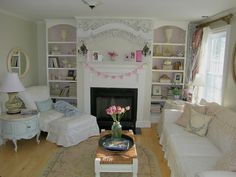 beautiful shabby chic room. love the bookcases