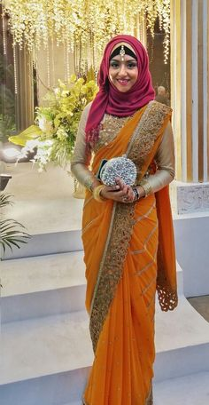 Contrast magenta hijab with orange heavy saree #hijabfashion #hijaboutfit