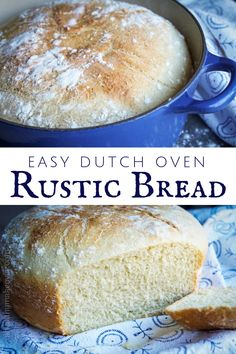 Easy Dutch Oven Rustic Bread - no kneading or rising needed! Delicious home baked bread in less than 2 hours! Dutch Oven Bread, Dutch Oven Cooking, Dutch Oven Recipes, Loaf Recipes, Cooking Recipes, German Bread, Easy Recipes, Bread Cake, Dessert Bread