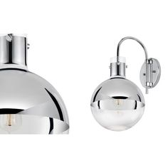 Apollo One Light Polished Chrome With Half Mercury Glass Wall Sconce Sonneman 1 Ligh