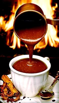 Parisian Chocolat Chaud - thick, intensely flavorful hot chocolate The perfect drink for the chocoholic! Café Chocolate, Hot Chocolate Recipes, Chocolate Lovers, Just Desserts, Dessert Recipes, Yummy Drinks, Yummy Food, Breakfast And Brunch, Chocolates