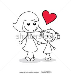 mother and child with a red heart shape